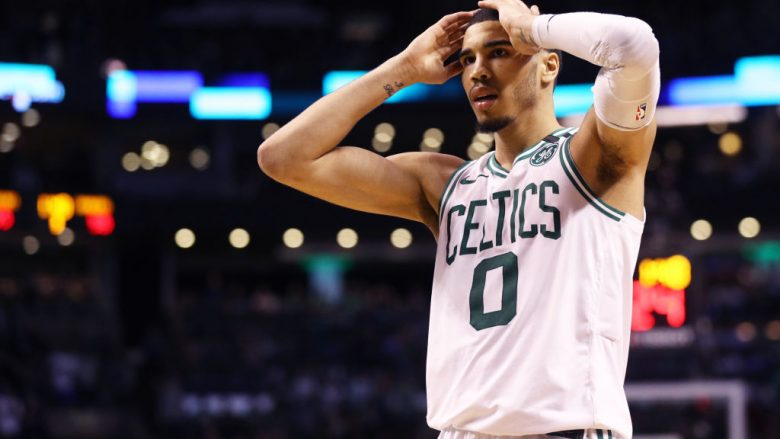 BOSTON, MA - MAY 27: Jayson Tatum #0 of the Boston Celtics reacts during Game Seven of the 2018 NBA Eastern Conference Finals against the Cleveland Cavaliers at TD Garden on May 27, 2018 in Boston, Massachusetts. (Photo by Maddie Meyer/Getty Images)