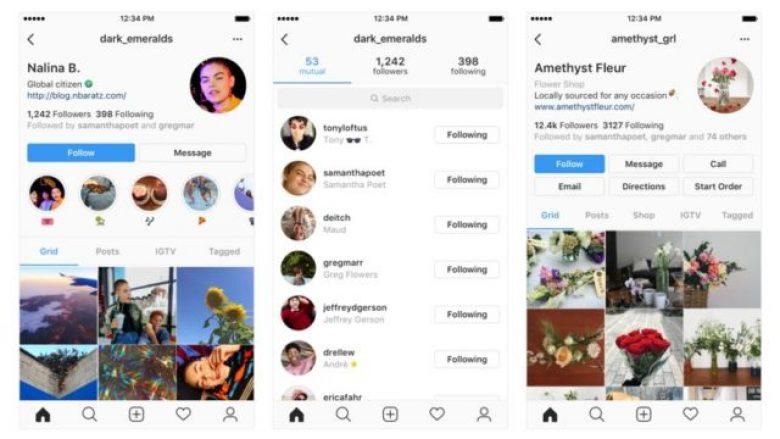 Instagram po teston ndryshime të dizajnit në profilet e përdoruesve