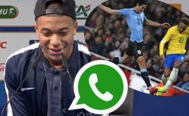 Mbappe tregon bisedën me Neymarin në WhatsApp rreth duelit me Cavanin në miqësoren Brazil-Uruguai