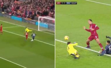 Tifozët e Liverpoolit në dashuri me gjestin e Van Dijk pasi Alisson gaboi te goli i Unitedit