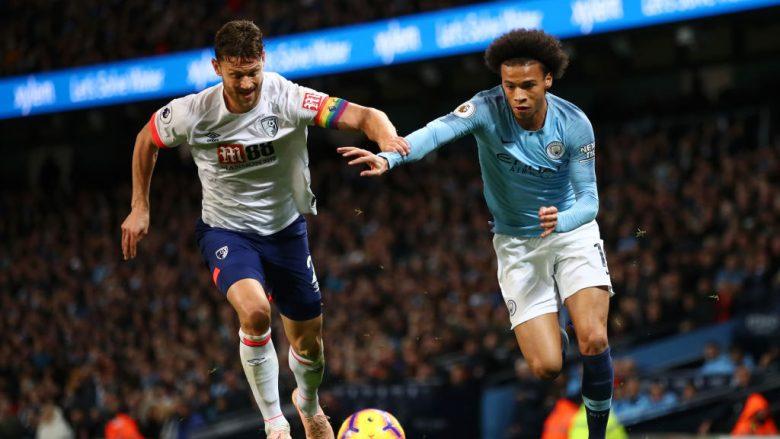 Leroy Sane në duel me një lojtarët e AFC Bournemouthit në Etihad (Foto: Clive Brunskill/Getty Images/Guliver)