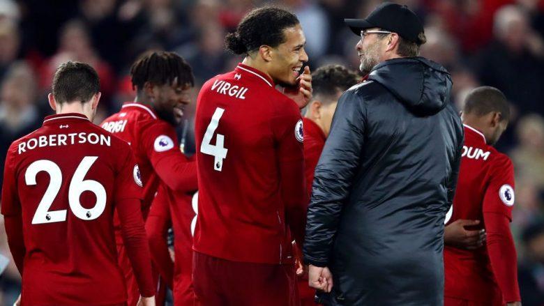 Jurgen Klopp dhe trajneri Jurgen Klopp të lumtur pas fitores ndaj Evertonit (Foto: Clive Brunskill/Getty Images/Guliver)