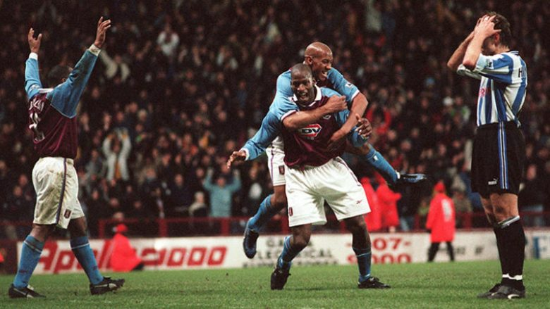 Aston Villa's Ugo Ehiogu is congratulated by Dion Dublin after scoring their winning goal