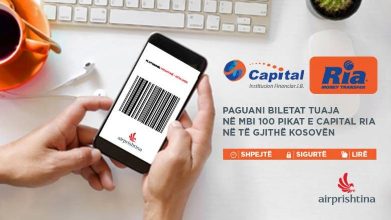 Biletat e fluturimeve tani mund t'i paguani në mbi 100 pika të Capital Ria