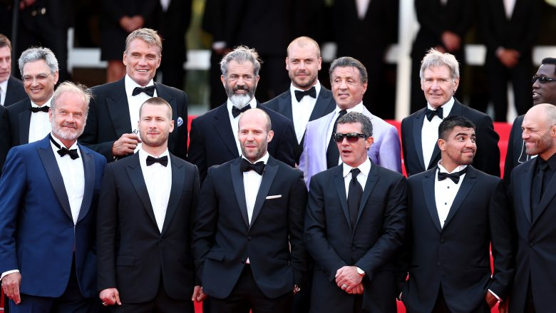 "CANNES, FRANCE - MAY 18:  (Top 2ndL-R) Actors Dolph Lundgren, Mel Gibson, director Patrick Hughes, actors Sylvester Stallone, Harrison Ford, Wesley Snipes, (Front L-R) Kelsey Grammer, Glen Powell, Jason Statham, Antonio Banderas, Victor Ortiz and Randy Couture  attend ""The Expendables 3"" premiere during the 67th Annual Cannes Film Festival on May 18, 2014 in Cannes, France.  (Photo by Andreas Rentz/Getty Images)"