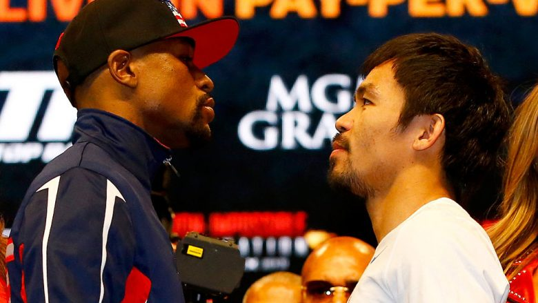 Dueli i parë ndërmjet Floyd Mayweather dhe Manny Pacquiao (Foto: Al Bello/Getty Images/Guliver)