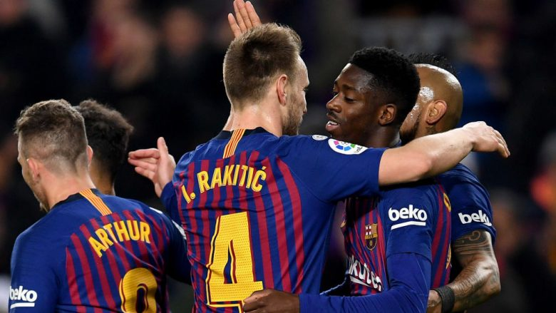 BARCELONA, SPAIN - JANUARY 17: Dembele of FC Barcelona celebrates his second goal during the Copa del Rey Round of 16 match between FC Barcelona  and Levante at Nou Camp on January 17, 2019 in Barcelona, Spain. (Photo by David Ramos/Getty Images)