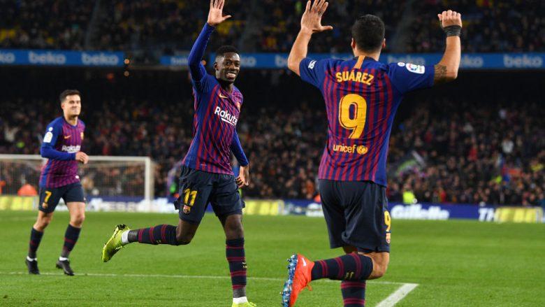 Ousmane Dembele dhe Luis Suarez duke festuar golin e parë ndaj Leganes në Camp Nou (Foto: David Ramos/Getty Images/Guliver)