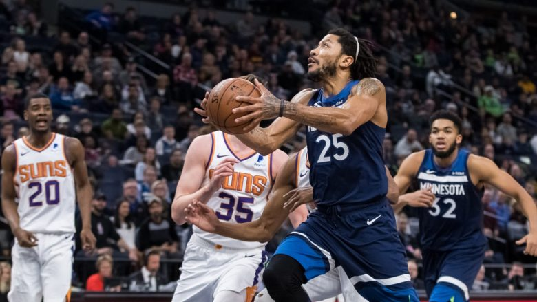 Jan 20, 2019; Minneapolis, MN, USA; Minnesota Timberwolves guard Derrick Rose (25) drives in the fourth quarter against Phoenix Suns at Target Center. Mandatory Credit: Brad Rempel-USA TODAY Sports