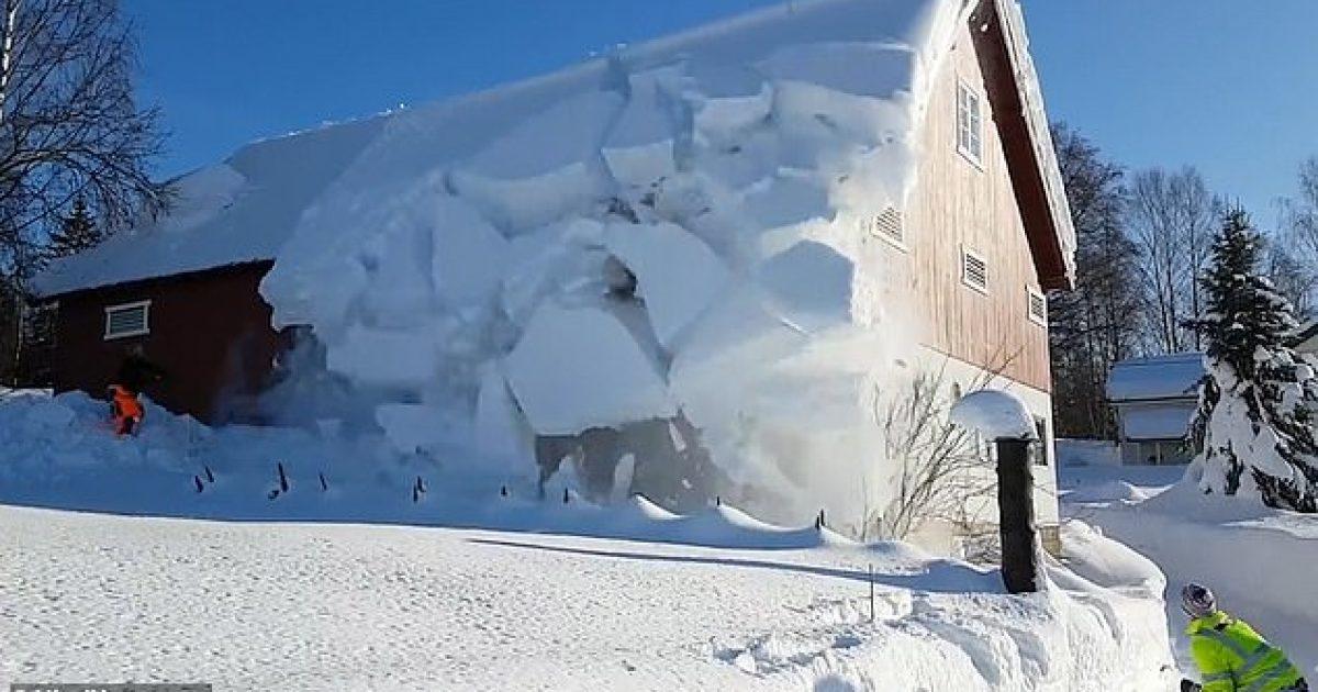 """Norvegjezët përdorin një litar për të pastruar borën nga çatia e tyre, shkaktojnë një """"mini-ortek"""" (Video)"""