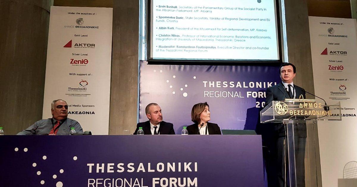 Kurti në Forumin Rajonal të Selanikut, flet për gjendjen ekonomike të Kosovës në raport me vendet e rajonit