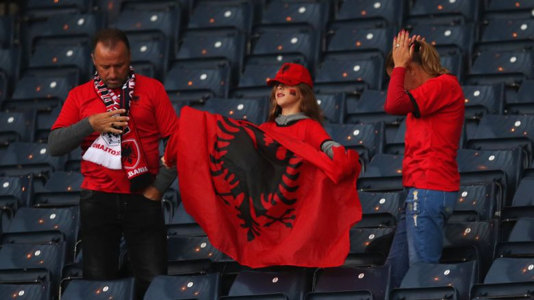 GLASGOW, SCOTLAND - SEPTEMBER 10:  Albania fans look on prior to the UEFA Nations League C Group One match between Scotland and Albania at Hampden Park on September 10, 2018 in Glasgow, United Kingdom.  (Photo by Ian MacNicol/Getty Images)