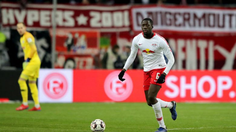 DUESSELDORF, GERMANY - JANUARY 27: Ibrahima Konate of Leipzig runs with the ballnduring the Bundesliga match between Fortuna Duesseldorf and RB Leipzig at Esprit-Arena on January 27, 2019 in Duesseldorf, Germany. (Photo by Christof Koepsel/Bongarts/Getty Images)