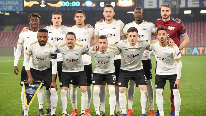 NAPLES, ITALY - FEBRUARY 21: Players of FC Zurich pose before the UEFA Europa League Round of 32 Second Leg match between SSC Napoli v FC Zurich at Stadio San Paolo on February 21, 2019 in Naples, Italy.  (Photo by Francesco Pecoraro/Getty Images)