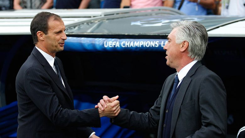 MADRID, SPAIN - MAY 13:  (L-R) Massimiliano Allegri the head coach of Juventus and Carlo Ancelotti the head coach of Real Madrid shake hands prior to kickoff during the UEFA Champions League Semi Final, second leg match between Real Madrid and Juventus at Estadio Santiago Bernabeu on May 13, 2015 in Madrid, Spain.  (Photo by Gonzalo Arroyo Moreno/Getty Images)