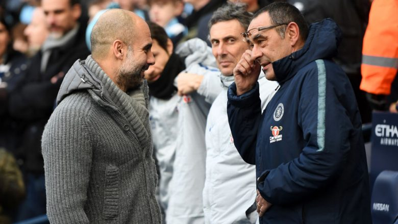 Maurizio Sarri dhe Pep Guardiola para ndeshjes City-Chelsea (Foto: Michael Regan/Getty Images/Guliver)
