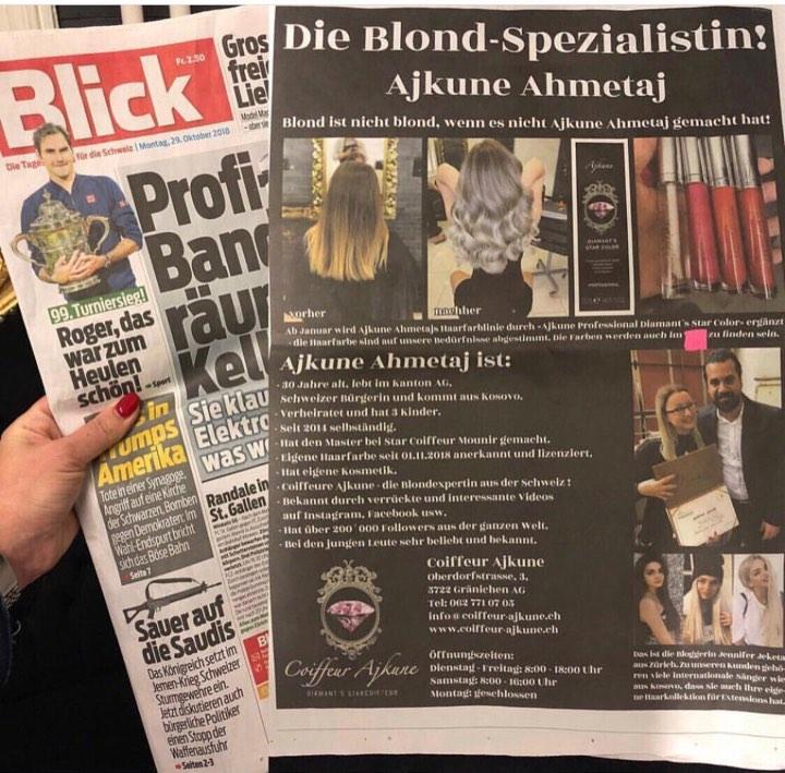 Për të kanë shkruar mediat në Zvicër – Ngjyrat e Ajkunes të preferuarat për flokët e yjeve shqiptare Taynas, Dhuratës, Kidës dhe Rinës ajkune 1
