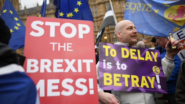 Pro-EU and pro-Brexit demonstrate near to the Houses of Parliament on January 29, 2019 in London, England. Seven amendments to the Prime Minister's Brexit deal have been chosen for debate today including those from Dominic Grieve, Yvette Cooper and Graham Brady. MPs will begin voting on them from 7pm. (Photo by Leon Neal/Getty Images/Guliver)