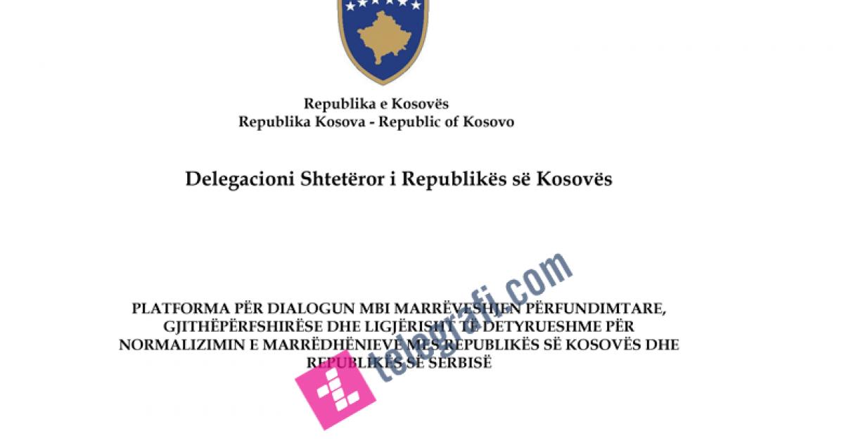 Ekskluzive: Platforma e dialogut thotë se sovraniteti i Kosovës është i padiskutueshëm (Dokument)