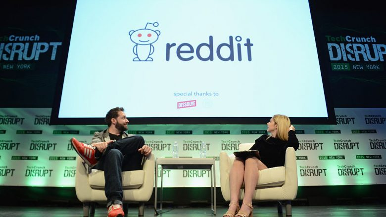 Co-Founder and Executive Chair of Reddit, and Partner at Y Combinator, Alexis Ohanian (L) and co-editor at TechCrunch, Alexia Tsotsis appear onstage during TechCrunch Disrupt NY 2015 - Day 3 at The Manhattan Center on May 6, 2015 in New York City.  (Photo by Noam Galai/Getty Images for TechCrunch/Guliver)
