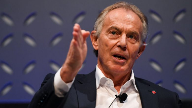 Former British Prime Minister Tony Blair on Forum Stage during day two of Web Summit 2018 at the Altice Arena on November 7, 2018 in Lisbon, Portugal. In 2018, more than 70,000 attendees from over 170 countries will fly to Lisbon for Web Summit, including over 1,500 startups, 1,200 speakers and 2,600 international journalists. (Photo by Harry Murphy /Web Summit via Getty Images/Guliver)