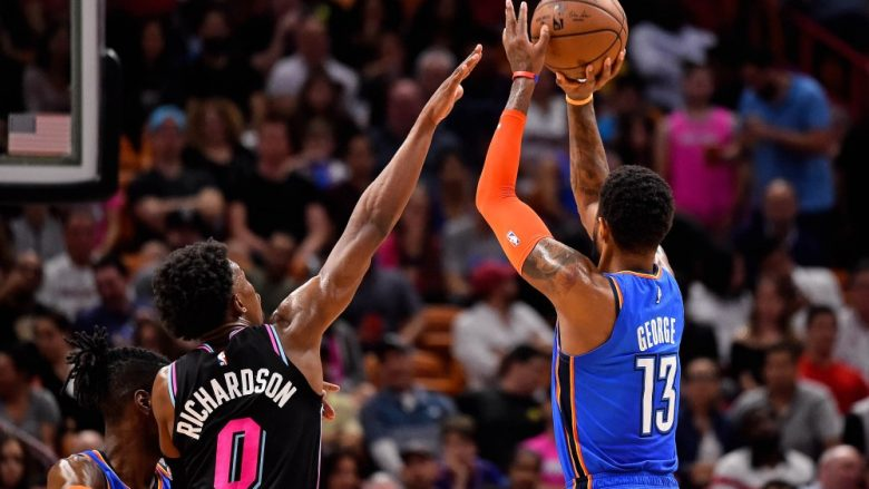 Feb 1, 2019; Miami, FL, USA; Oklahoma City Thunder forward Paul George (13) shoots over Miami Heat guard Josh Richardson (0) during the first half at American Airlines Arena. Mandatory Credit: Jasen Vinlove-USA TODAY Sports