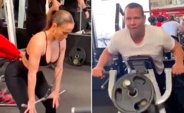 """Sfidë e re fitnesi: Jennifer Lopez dhe Alex Rodriguez gjithnjë e më shumë """"po djersitin para kurorëzimit"""" (Video)"""