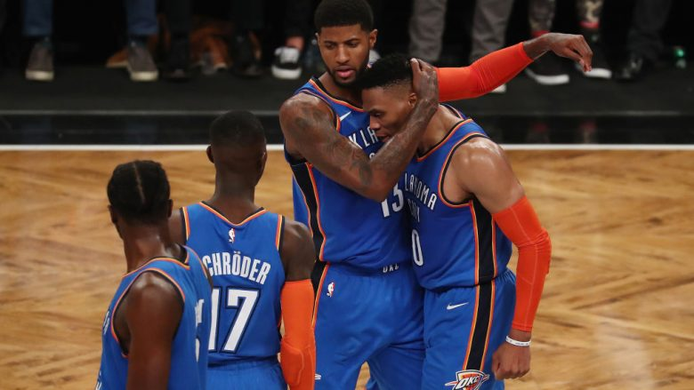 Paul George dhe Russell Westbrook.  (Foto: Al Bello/Getty Images/Guliver)