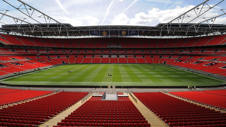 LONDON, UNITED KINGDOM - MAY 24:  In this handout image provided by UEFA, final preparations are made to the pitch at Wembley Stadium for the Champions League Final, May 24, 2011  in London, England. The UEFA Champions League final between FC Barcelona and Manchester United FC will be held at Wembley stadium on May 28.  (Photo by UEFA via Getty Images)