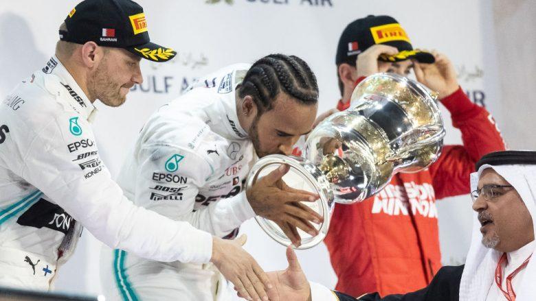 Lewis Hamilton, Valtteri Bottas dhe Charles Leclerc (Foto: Lars Baron/Getty Images/Guliver)