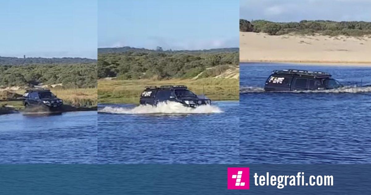 Të rinjtë vendosën të kalojnë lumin me veturë – por a ia dolën ata? (Video)