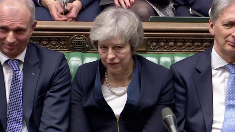 Prime Minister Theresa May sits down in Parliament after the vote on May's Brexit deal, in London, Britain, January 15, 2019 in this screengrab taken from video. Reuters TV via REUTERS - RC1E18D367A0