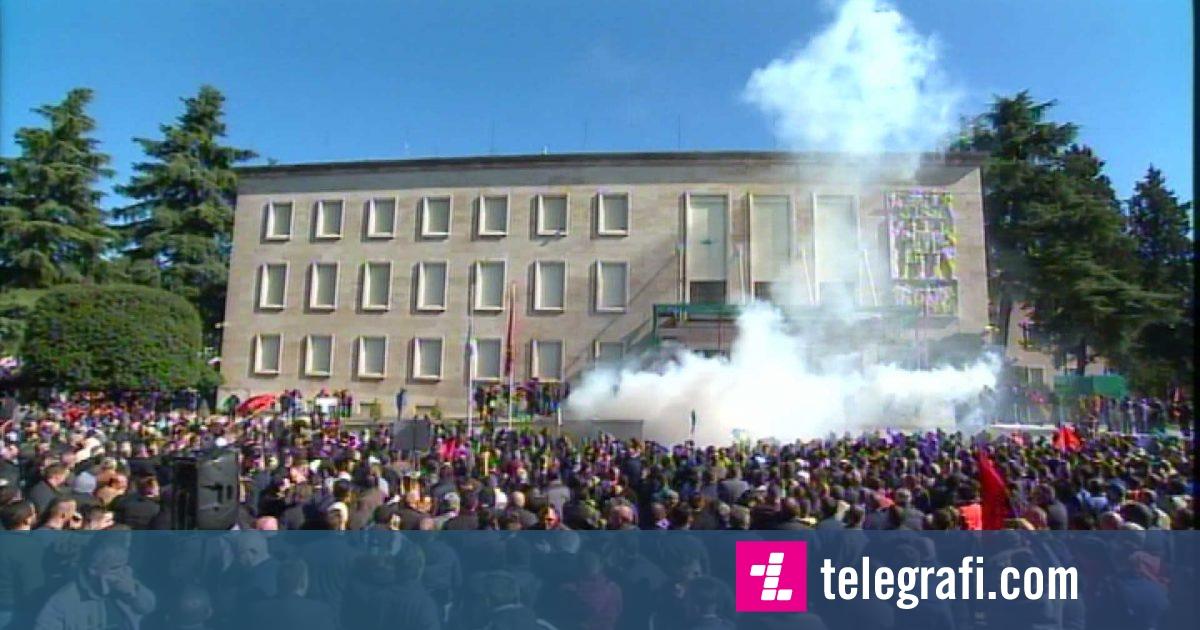 Nis protesta e opozitës para kryeministrisë, Noka mban fjalën para protestuesve (Video)