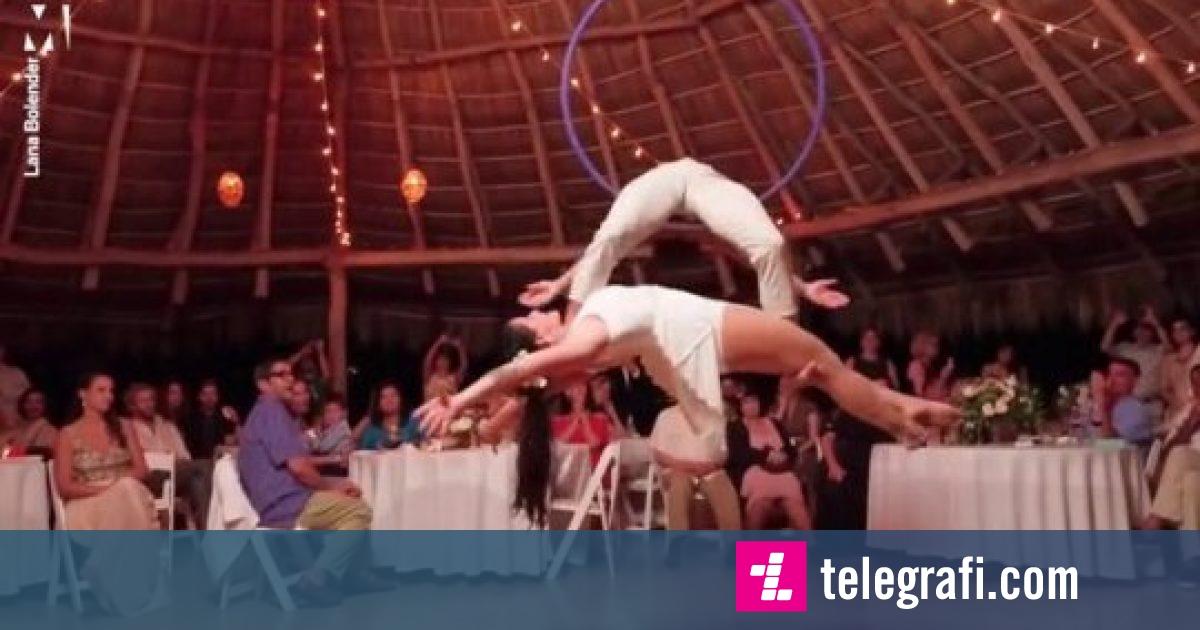 Çifti realizojnë një valle spektakolare në ajër, ndërsa nusja ishte 11 javë shtatzënë (Video)