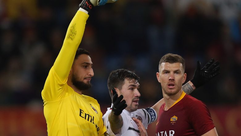 Donnarumma, Romagnoli e Dzeko.  (Photo by Paolo Bruno/Getty Images)