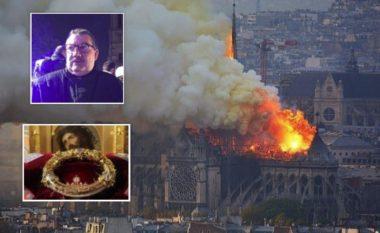 """""""Ai është një hero"""": Vrapoi përmes zjarrit në katedralen Notre Dame, për të shpëtuar artefaktet – përfshirë Kurorën e Krishtit (Foto/Video)"""