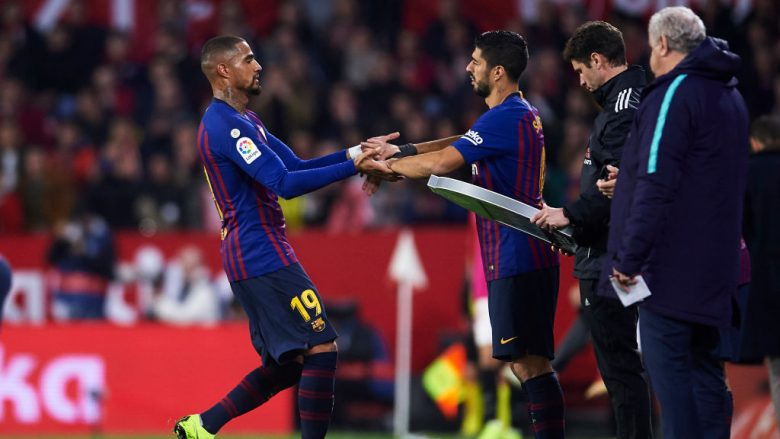 Kevin-Prince Boateng dhe Luis Suarez. (Photo by Aitor Alcalde/Getty Images)