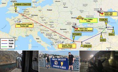 Katër fluturime dhe udhëtim 24 orësh me tren, eksperienca e çmendur e babait me të birin drejt Baku për ndeshjen e Chelseat në Ligën e Evropës