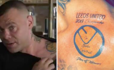 Tifozi i Leedsit bën tatuazh pasi ishte i bindur në inkuadrimin e ekipit të tij në Ligën Premier - pas dështimit ai tallet nga të tjerët dhe i kërkohet ta fshijë