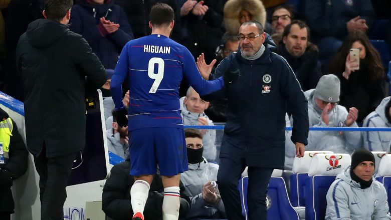 Gonzalo Higuain dhe Maurizio Sarri  (Foto: Clive Rose/Getty Images/Guliver)