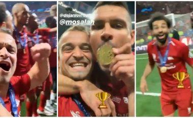 Pas triumfit në Ligën e Kampionëve, Shaqiri feston me Lovrenin dhe Salahun