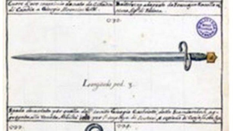 Shpata e konsideruar si personale e Skënderbeut, në vizatimin e bërë nga Giovanni Grevembroch, shekulli XVIII (Venecia, Biblioteca del Museo Correr)
