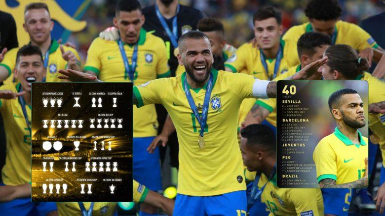Dani Alves është futbollisti i parë që fiton 40 trofe