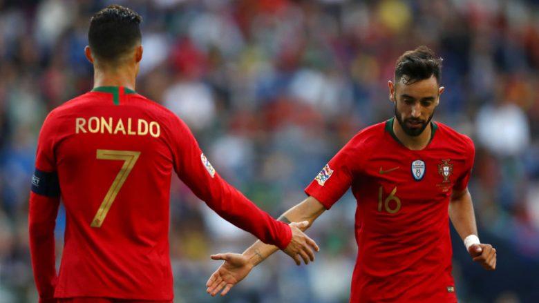 Cristiano Ronaldo dhe Bruno Fernandes (Foto: Dean Mouhtaropoulos/Getty Images/Guliver)