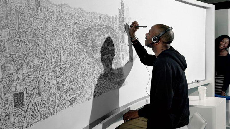 Stephen Wiltshire duke vizatuar Meksiko Sitin, bazuar në përvojën e shkurtë me helikopter
