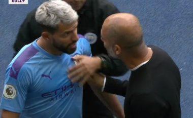 Përplasje verbale mes Agueros dhe Guardiolas në momentin e zëvendësimit të argjentinasit