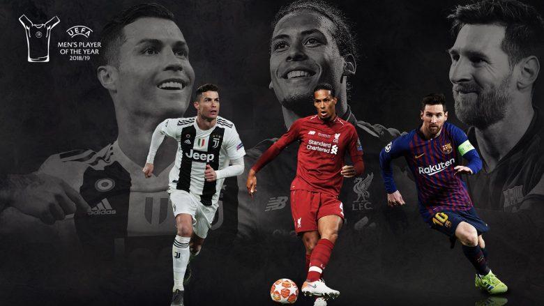 Ronaldo, Van Dijk dhe Messi (Foto: UEFA.com)