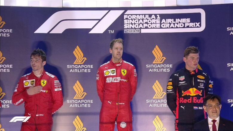 Leclerc, Vettel dhe Verstappen (Foto: Formula 1/Twitter)