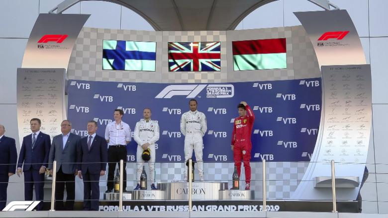 Lewis Hamilton, Valtteri Bottas dhe Charle Leclerc (Foto: Formula 1/Twitter)