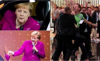 """Merkel hap panairin në Frankfurt, """"provon"""" veturën e parë elektrike të VW – aktivistët mjedisorë """"kishin përgatitur një befasi"""""""